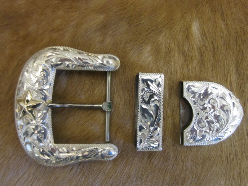 1 1 2 Quot Sterling Ranger Buckle Set With 10k Texas Star